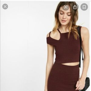 Express asymmetrical off the shoulder cropped top